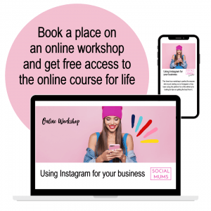 """Graphic wording on a pale pink background: """"Book a place on an online workshop and get free access to the online course for life"""" with a photo of a young woman holding and looking at her mobile phone"""
