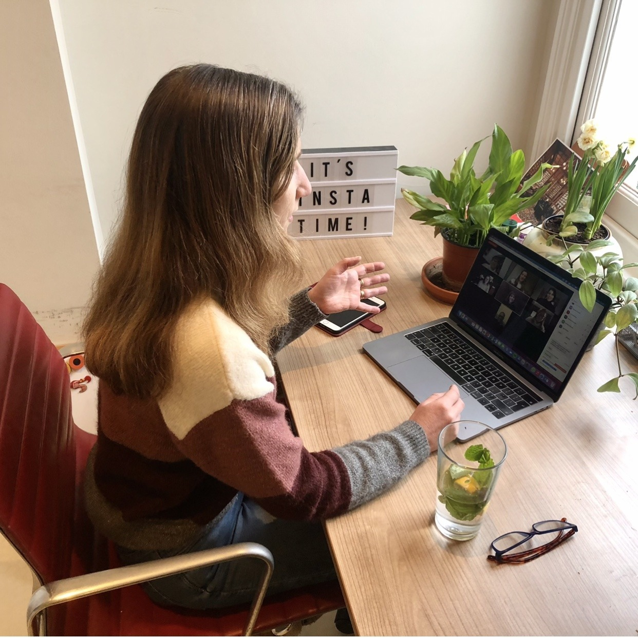 Anna Skipwith teaching a Zoom class about Instagram in her home office
